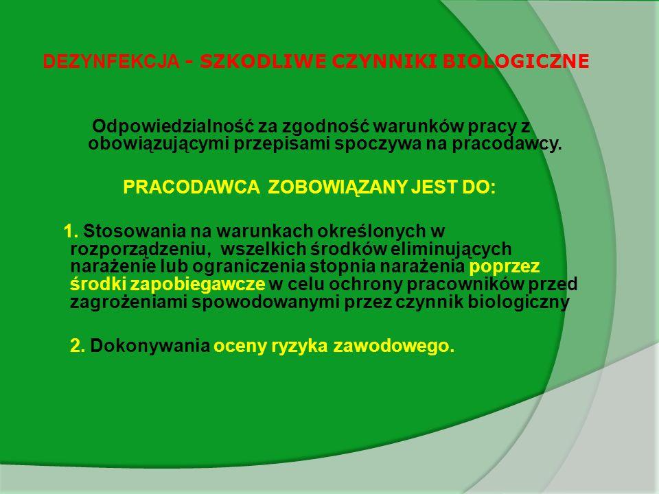 DEZYNFEKCJA - SZKODLIWE CZYNNIKI BIOLOGICZNE