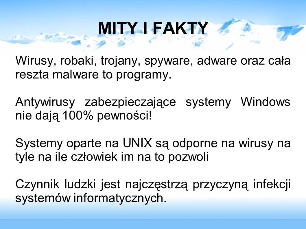 MITY I FAKTY Wirusy, robaki, trojany, spyware, adware oraz cała reszta malware to programy.