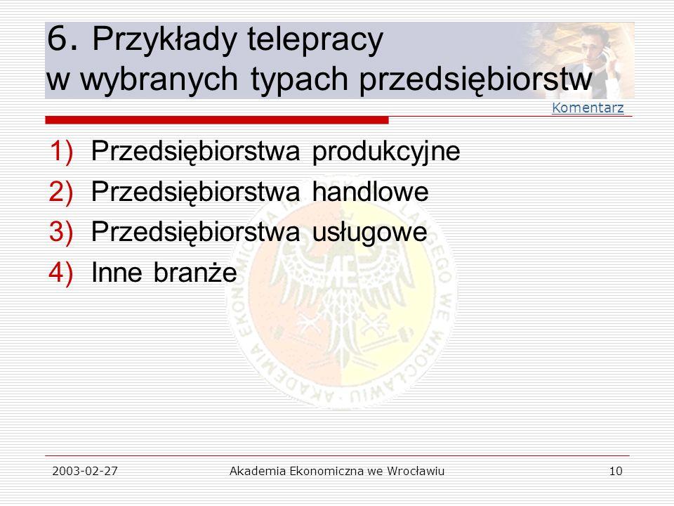 6. Przykłady telepracy w wybranych typach przedsiębiorstw