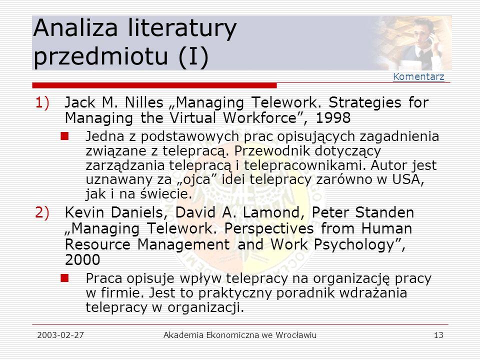 Analiza literatury przedmiotu (I)