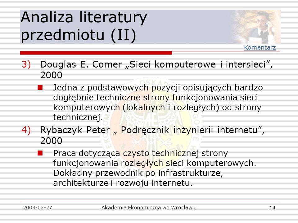 Analiza literatury przedmiotu (II)