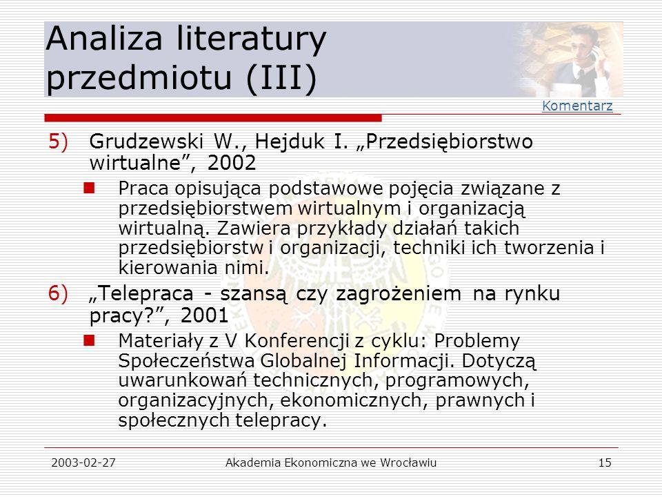Analiza literatury przedmiotu (III)