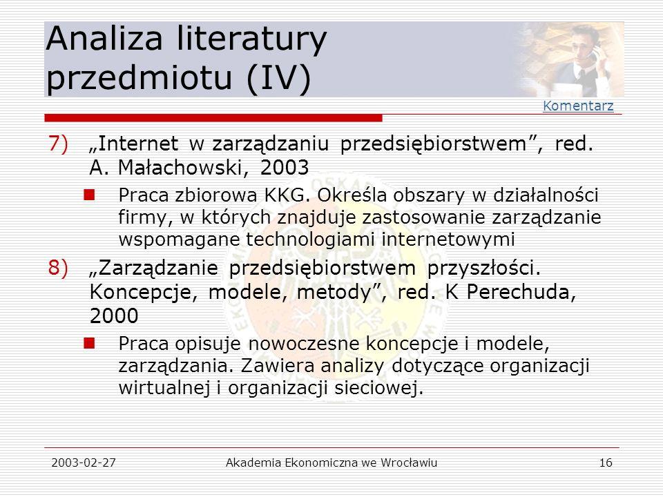 Analiza literatury przedmiotu (IV)