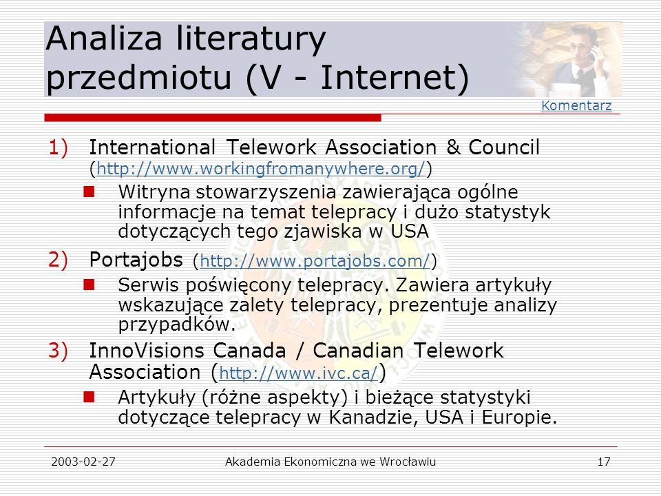 Analiza literatury przedmiotu (V - Internet)