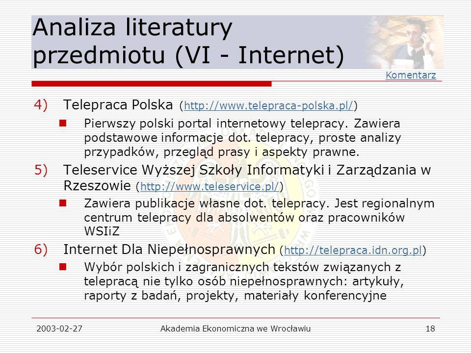 Analiza literatury przedmiotu (VI - Internet)