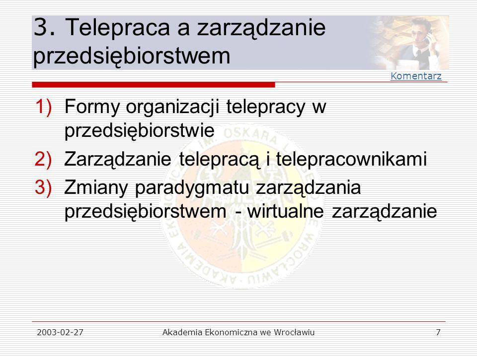 3. Telepraca a zarządzanie przedsiębiorstwem