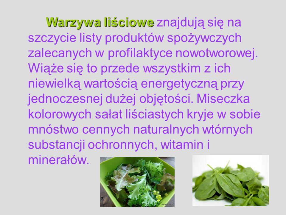 Warzywa liściowe znajdują się na szczycie listy produktów spożywczych zalecanych w profilaktyce nowotworowej.