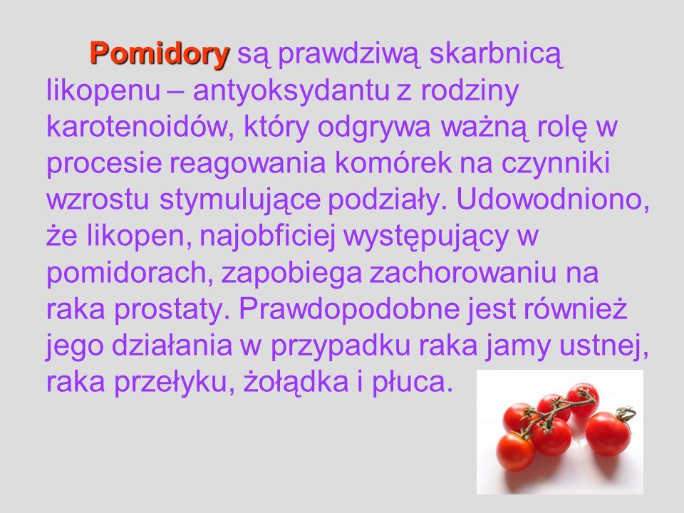 Pomidory są prawdziwą skarbnicą likopenu – antyoksydantu z rodziny karotenoidów, który odgrywa ważną rolę w procesie reagowania komórek na czynniki wzrostu stymulujące podziały.