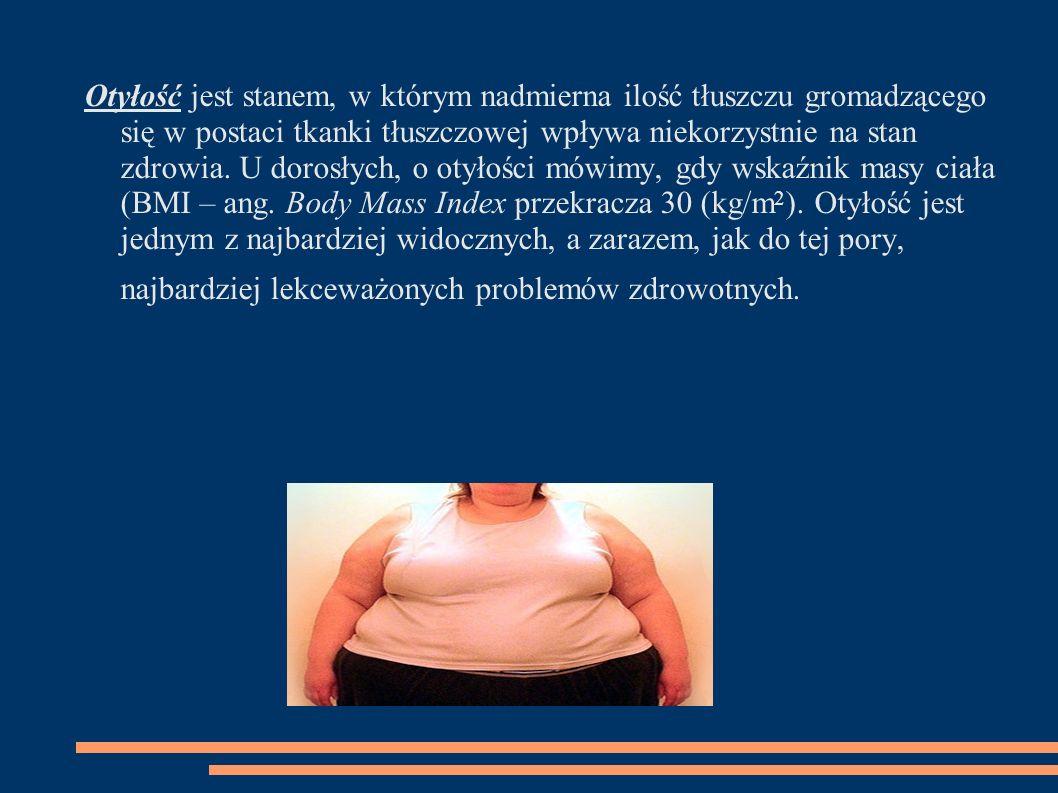 Otyłość jest stanem, w którym nadmierna ilość tłuszczu gromadzącego się w postaci tkanki tłuszczowej wpływa niekorzystnie na stan zdrowia.