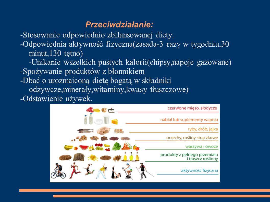Przeciwdziałanie: -Stosowanie odpowiednio zbilansowanej diety.