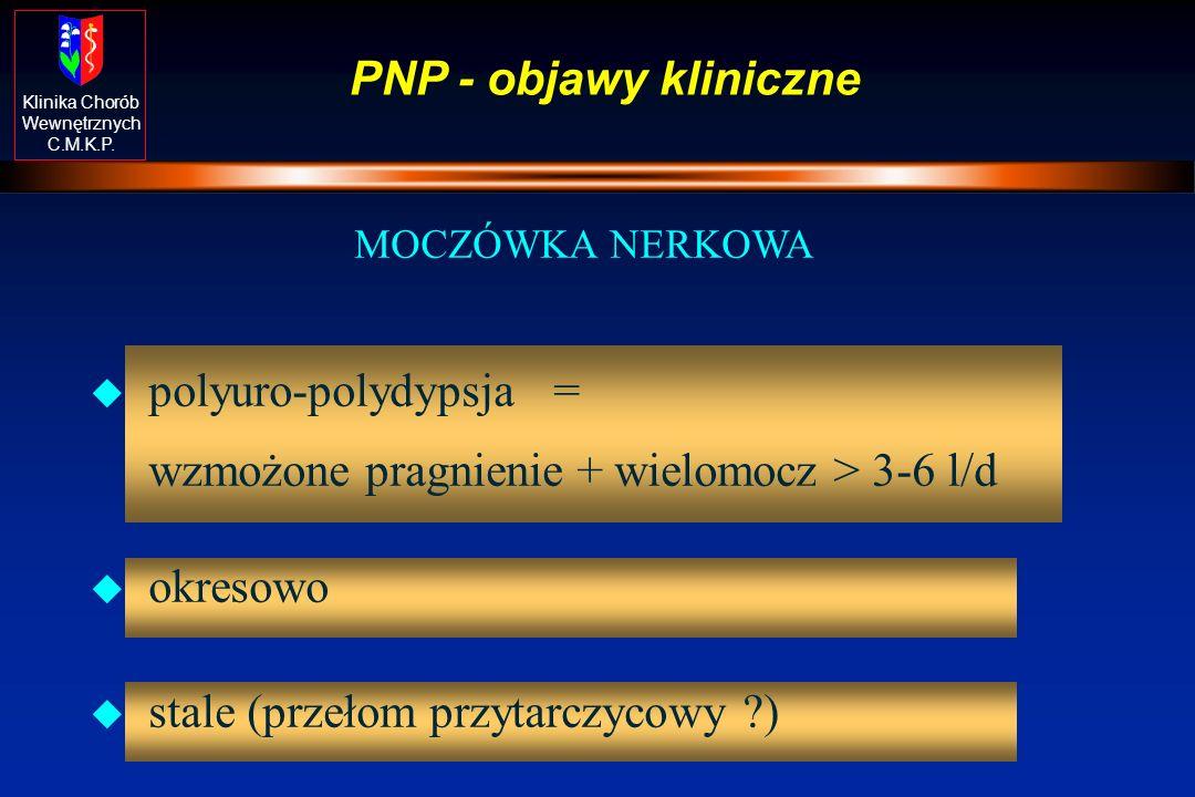 polyuro-polydypsja = wzmożone pragnienie + wielomocz > 3-6 l/d