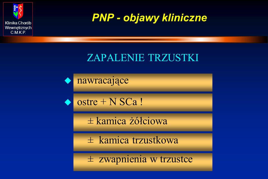 PNP - objawy kliniczne ZAPALENIE TRZUSTKI. nawracające.