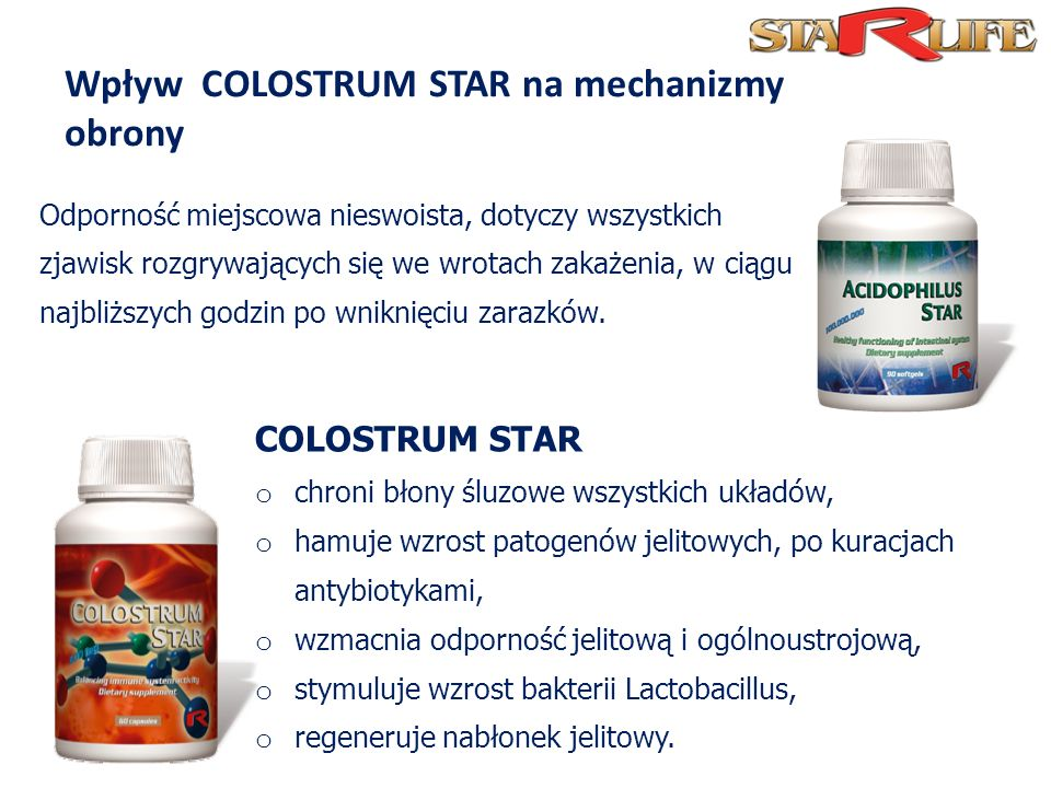 Wpływ COLOSTRUM STAR na mechanizmy obrony