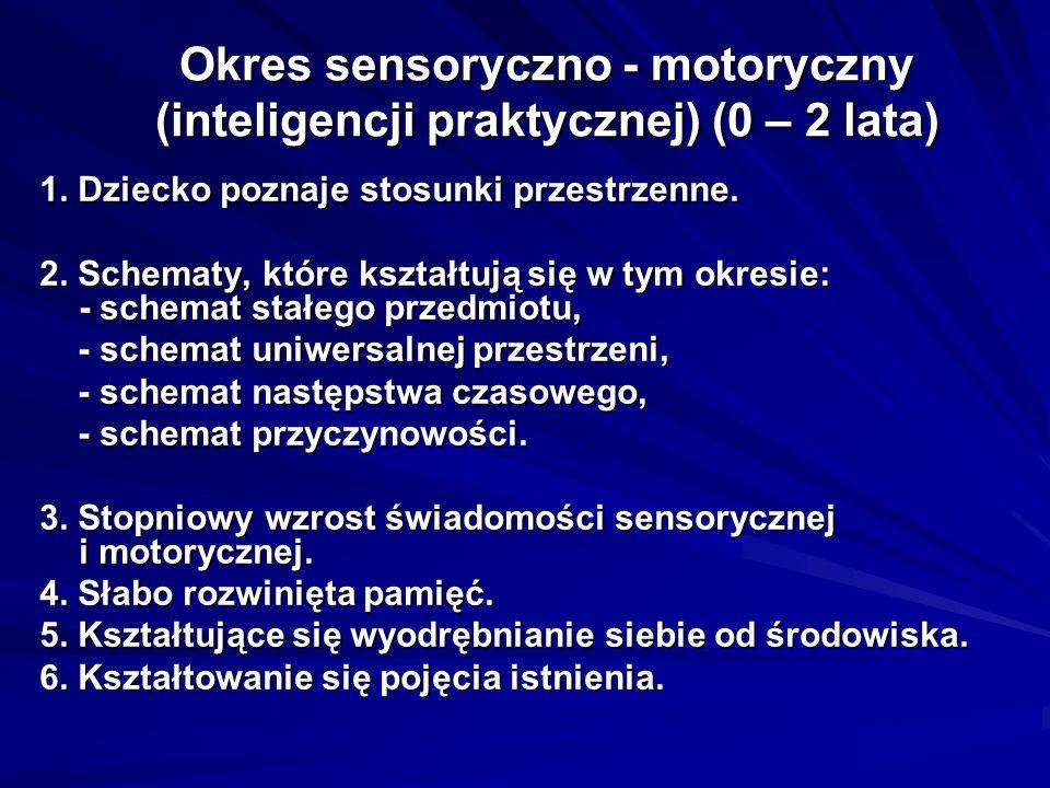 Okres sensoryczno - motoryczny (inteligencji praktycznej) (0 – 2 lata)