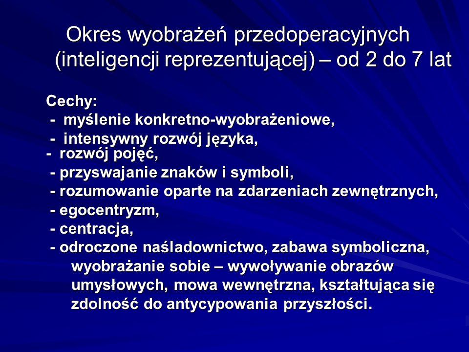 Okres wyobrażeń przedoperacyjnych (inteligencji reprezentującej) – od 2 do 7 lat