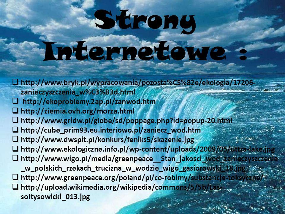 Strony Internetowe : http://www.bryk.pl/wypracowania/pozosta%C5%82e/ekologia/17206-zanieczyszczenia_w%C3%B3d.html.