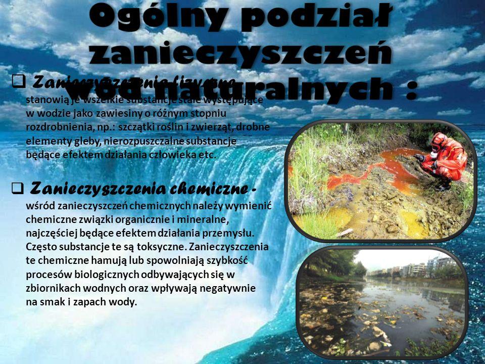 Ogólny podział zanieczyszczeń wód naturalnych :