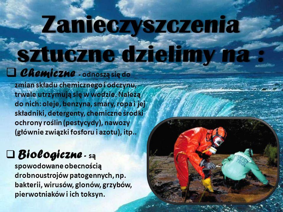 Zanieczyszczenia sztuczne dzielimy na :