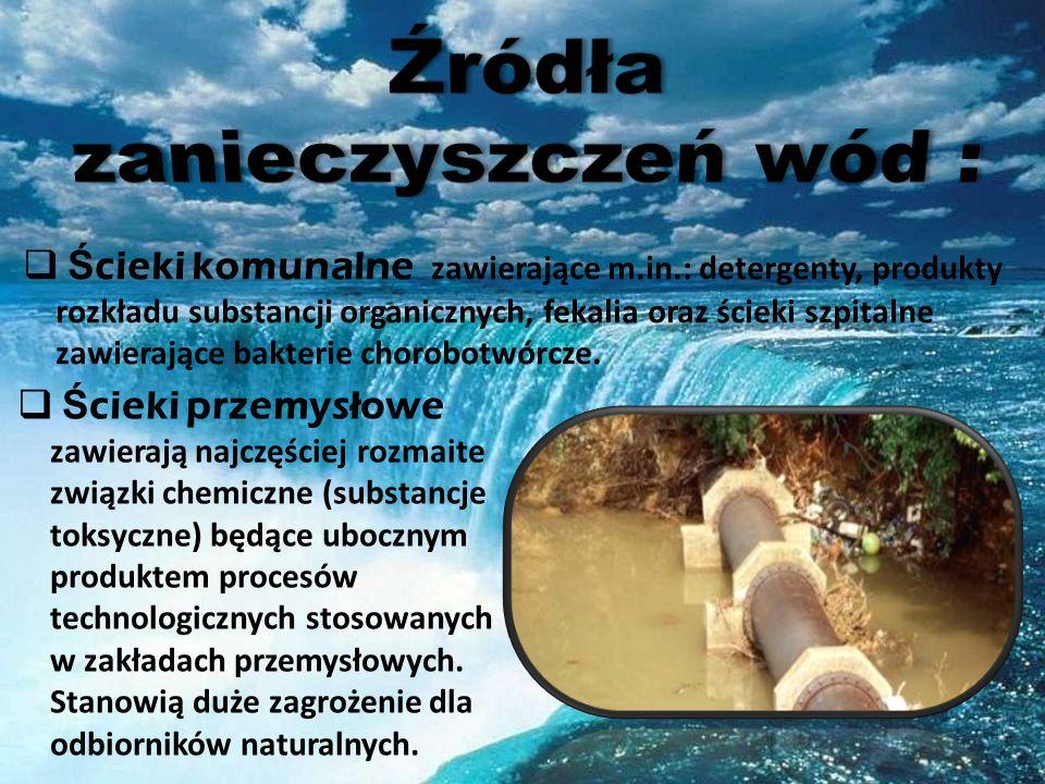 Źródła zanieczyszczeń wód :