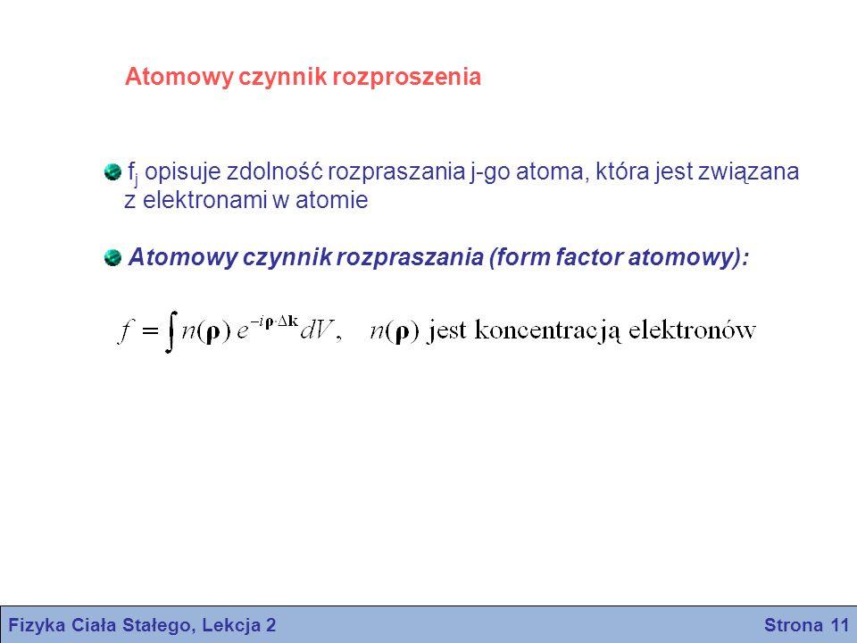 Fizyka Ciała Stałego, Lekcja 2 Strona 11