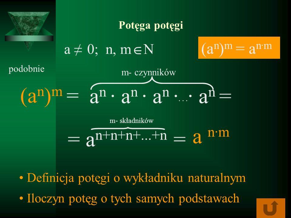 (an)m = an ∙ an ∙ an ·· · ·· an = a n·m = an+n+n+...+n = (an)m = an·m