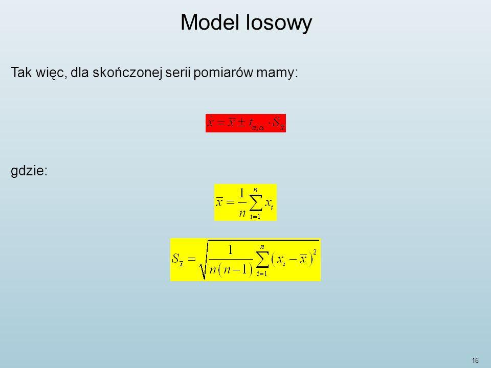 Model losowy Tak więc, dla skończonej serii pomiarów mamy: gdzie: