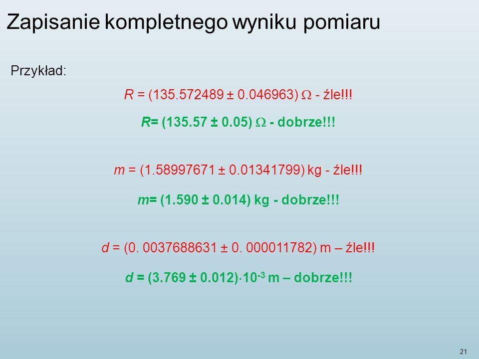 Zapisanie kompletnego wyniku pomiaru