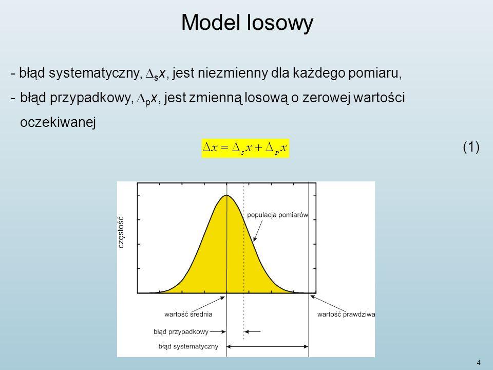 Model losowy błąd systematyczny, Dsx, jest niezmienny dla każdego pomiaru, błąd przypadkowy, Dpx, jest zmienną losową o zerowej wartości oczekiwanej.