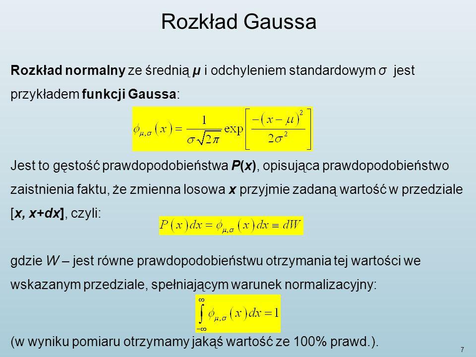 Rozkład Gaussa Rozkład normalny ze średnią μ i odchyleniem standardowym σ jest przykładem funkcji Gaussa: