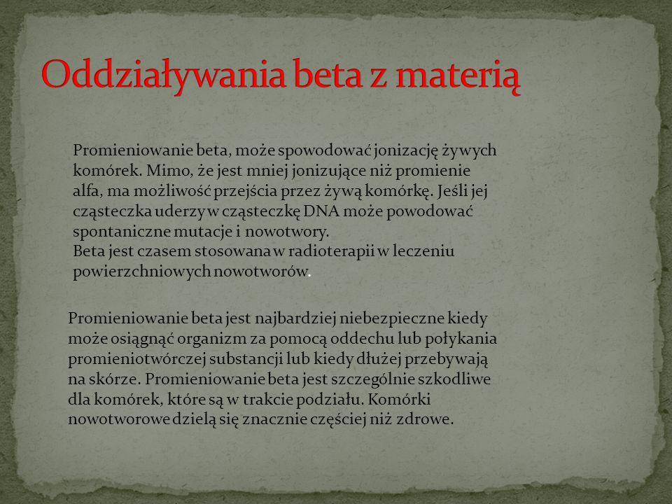 Oddziaływania beta z materią