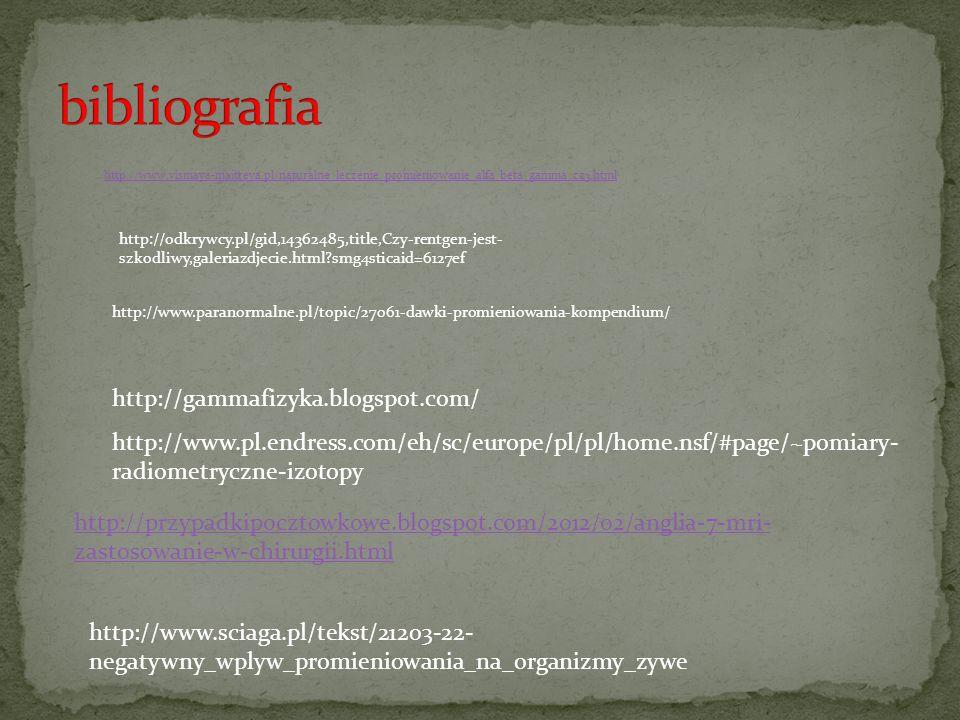 bibliografia http://gammafizyka.blogspot.com/
