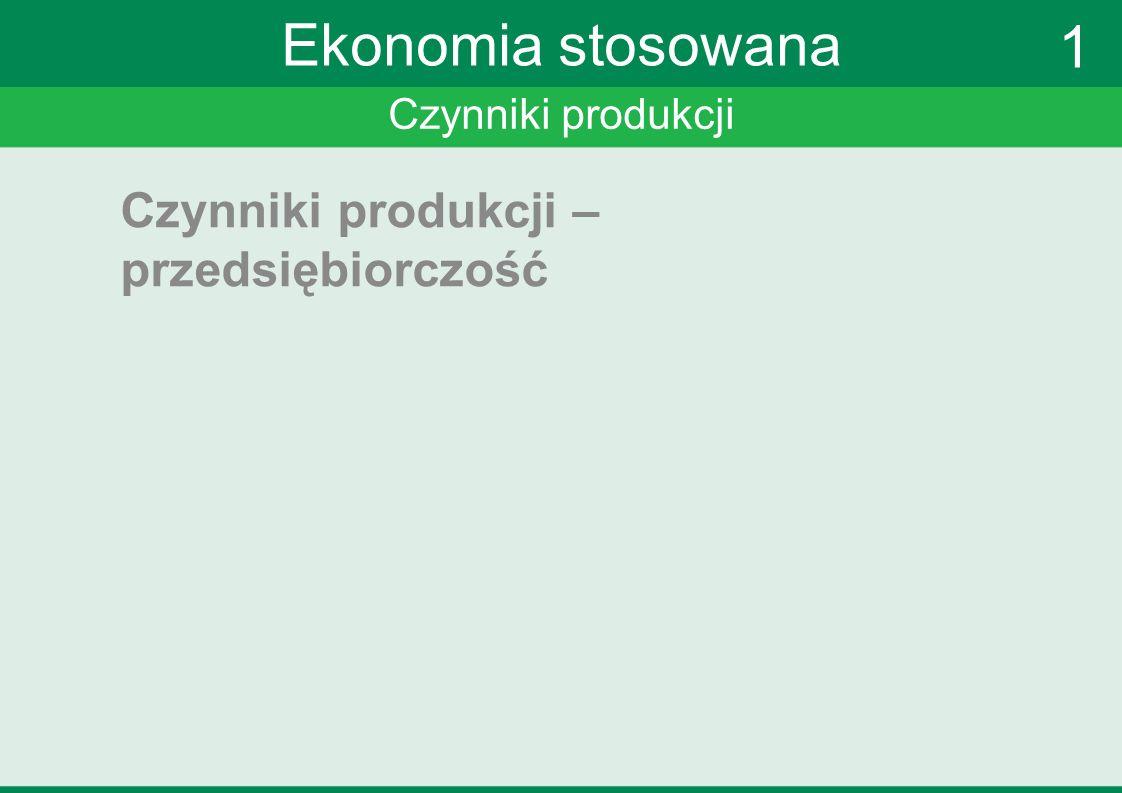 Ekonomia stosowana 1 Czynniki produkcji – przedsiębiorczość
