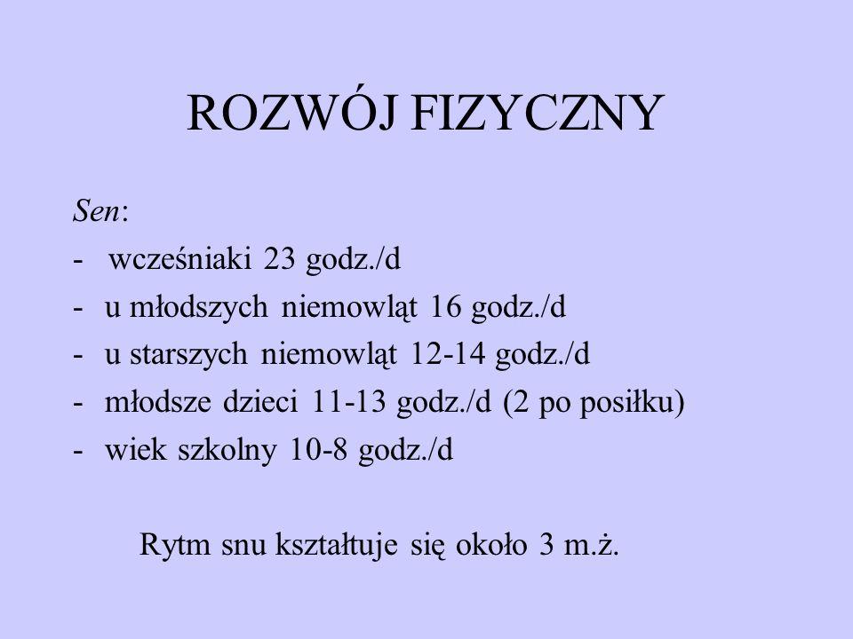 ROZWÓJ FIZYCZNY Sen: - wcześniaki 23 godz./d