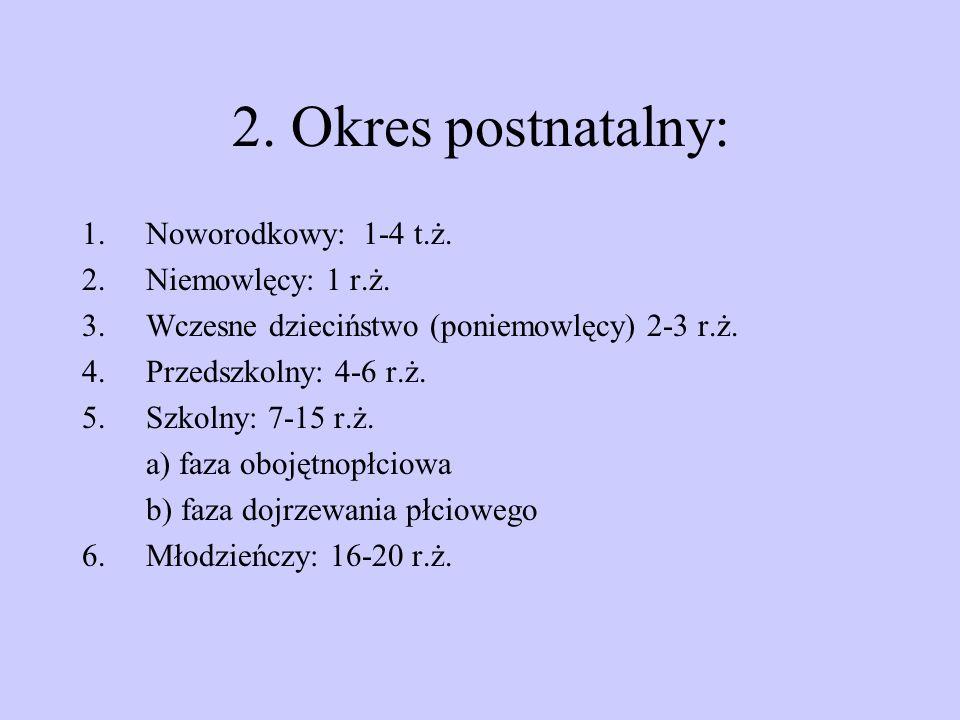 2. Okres postnatalny: Noworodkowy: 1-4 t.ż. Niemowlęcy: 1 r.ż.