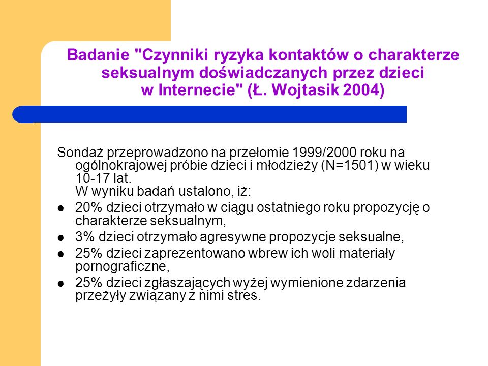 Badanie Czynniki ryzyka kontaktów o charakterze seksualnym doświadczanych przez dzieci w Internecie (Ł. Wojtasik 2004)