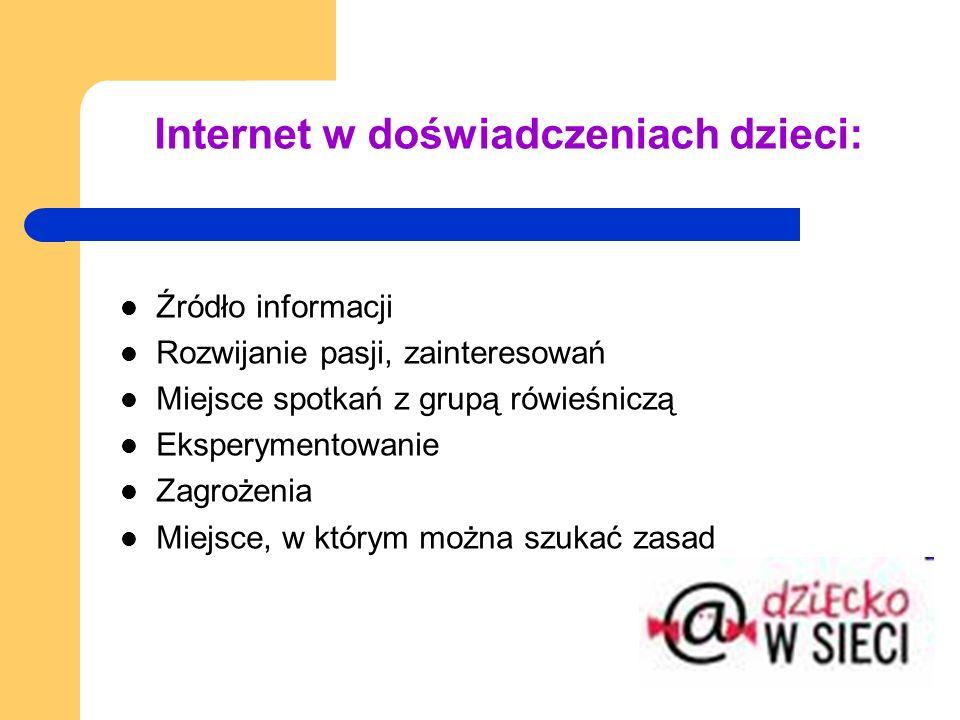 Internet w doświadczeniach dzieci: