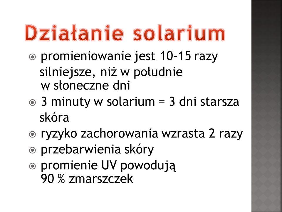 Działanie solarium promieniowanie jest 10-15 razy