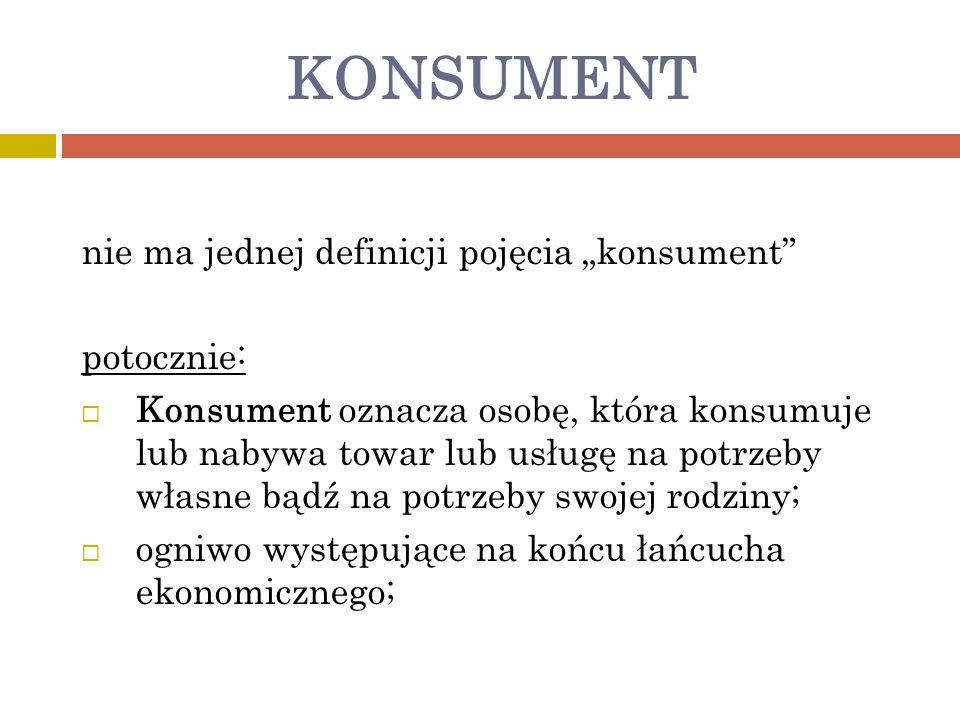 """KONSUMENT nie ma jednej definicji pojęcia """"konsument potocznie:"""