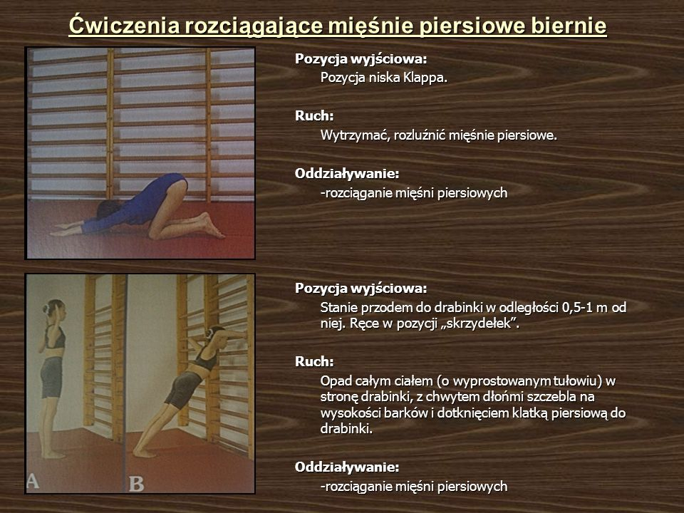 Ćwiczenia rozciągające mięśnie piersiowe biernie