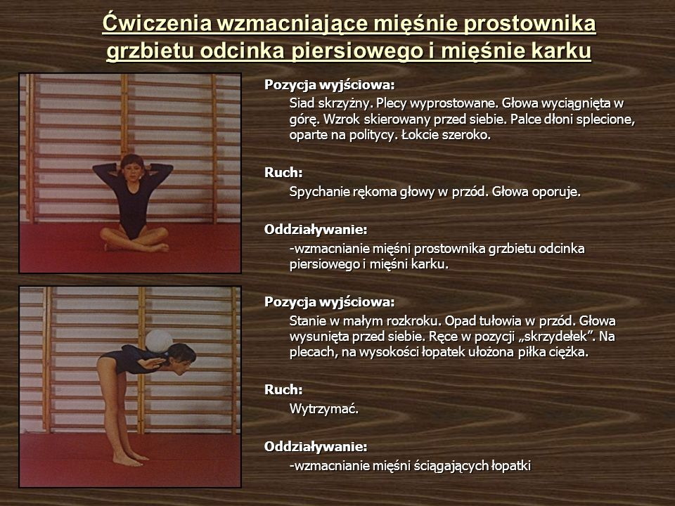 Ćwiczenia wzmacniające mięśnie prostownika grzbietu odcinka piersiowego i mięśnie karku