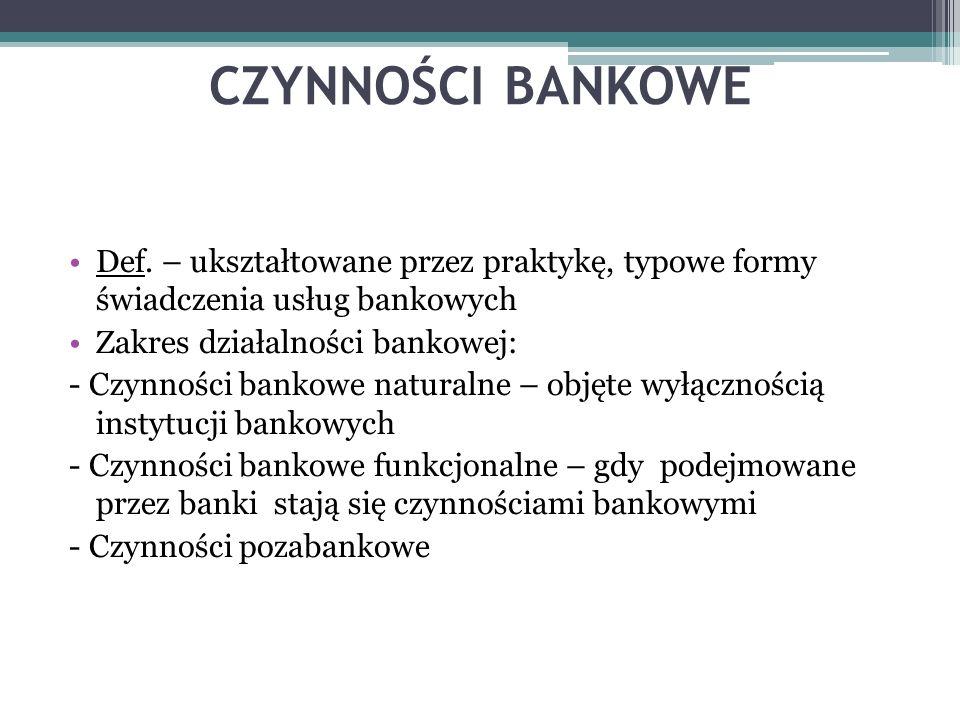 CZYNNOŚCI BANKOWE Def. – ukształtowane przez praktykę, typowe formy świadczenia usług bankowych. Zakres działalności bankowej: