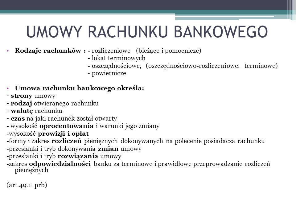 UMOWY RACHUNKU BANKOWEGO