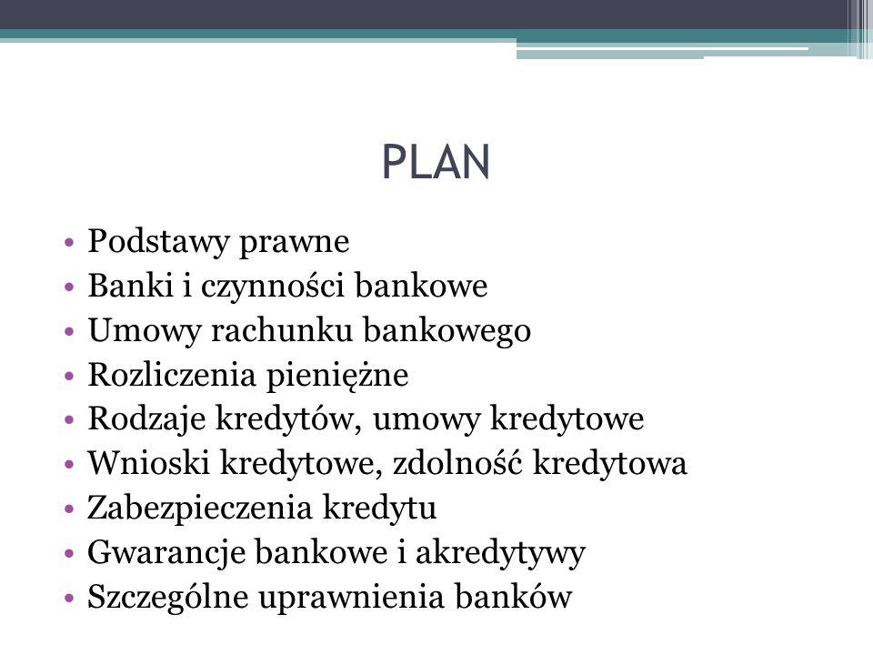 PLAN Podstawy prawne Banki i czynności bankowe