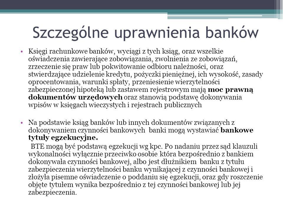 Szczególne uprawnienia banków