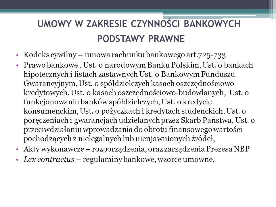 UMOWY W ZAKRESIE CZYNNOŚCI BANKOWYCH PODSTAWY PRAWNE