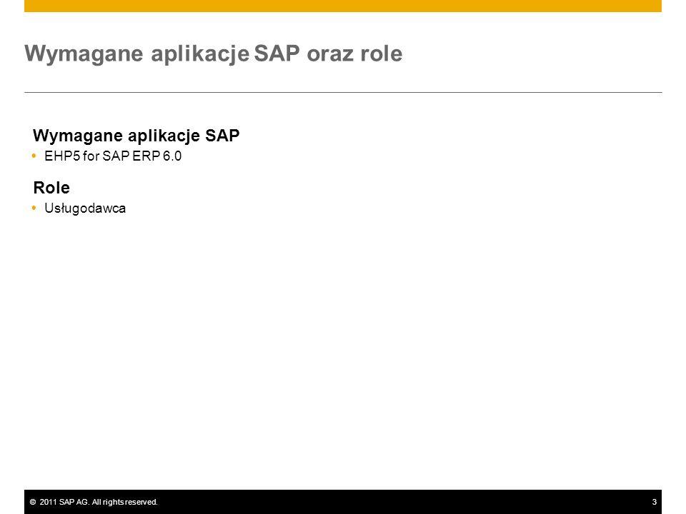 Wymagane aplikacje SAP oraz role