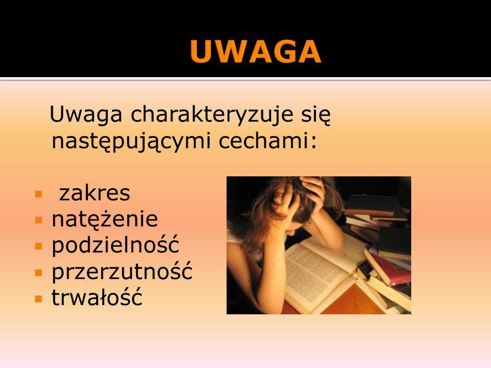 UWAGA Uwaga charakteryzuje się następującymi cechami: zakres natężenie