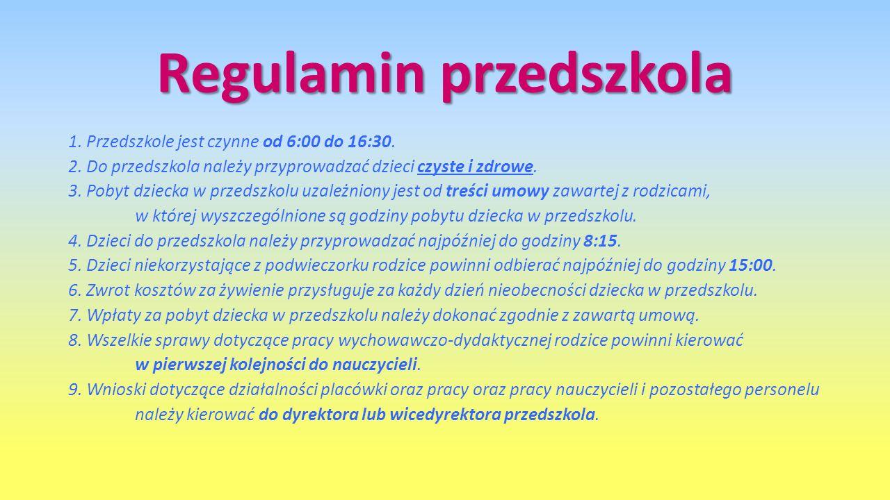 Regulamin przedszkola