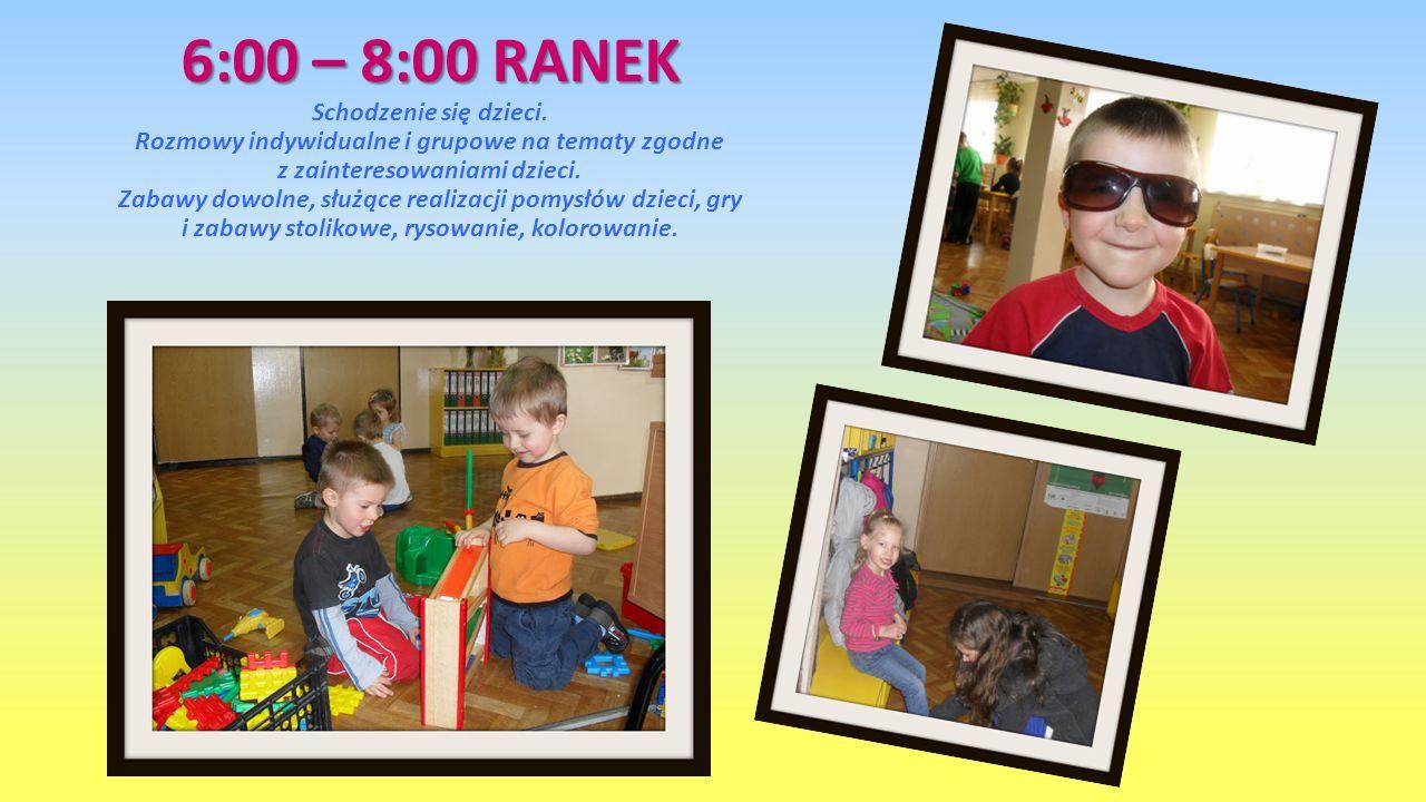 6:00 – 8:00 RANEK Schodzenie się dzieci
