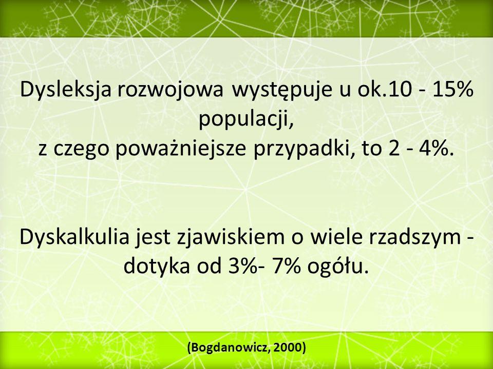 Dysleksja rozwojowa występuje u ok.10 - 15% populacji,